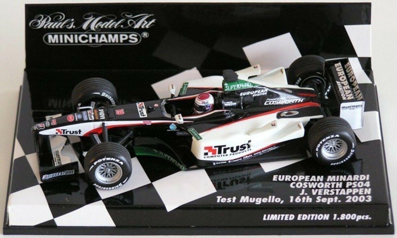 WOW EXTREMELY RARE Minardi PS04 Ford Verstappen Mugello 2003 1 43 Minichamps