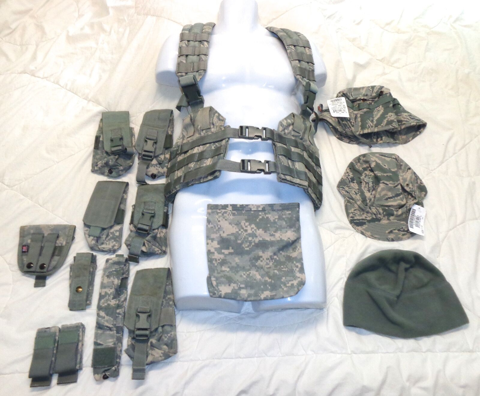 Military Gear 14 Lot H-Harness Riffle Grenade Pouches Mag Holders 3 Hats
