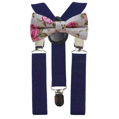 Floral Children/'s Boys Page Boy Bow Tie and Navy Braces Set by Dickie Bow