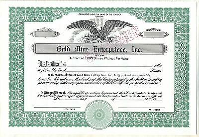 Gold Mine Enterprises, Inc. Stock Certificate Indiana Specimen