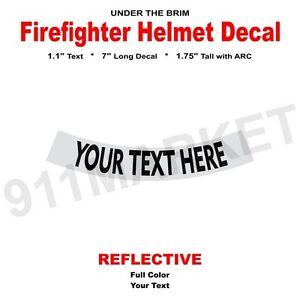 Custom Reflective Helmet Decal Under The Brim Sticker Fire FD - Custom reflective fire helmet decals