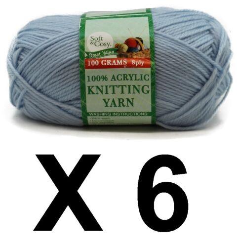 Knitting wool 6 x 100g acrylic yarn 8ply Baby Blue 100/% Brand New