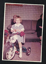 Old Vintage Photograph Little Girl Riding Tricycle Bicycle Bike in Retro Room