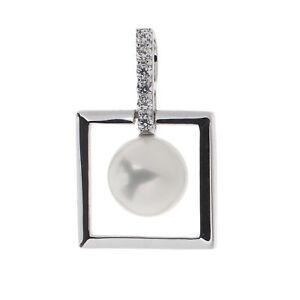 Damen-Anhaenger-echt-Silber-925-Sterlingsilber-rho-Zirkonia-und-Perle-weiss-2-9-cm