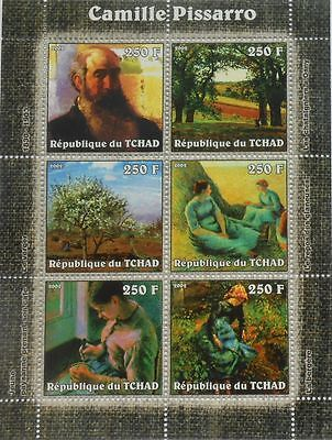 Topical Stamps Charitable Paintings Of Camille Pissarro Painting Tchad Chad M/s Michel 2316-2321 #tch203 Fine Craftsmanship