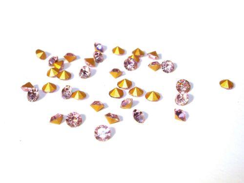 20 Stück #A06676 Glitzersteine Glas Chatons Rose 3mm