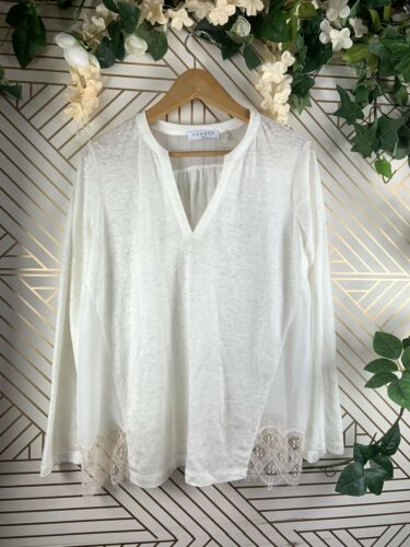 SANDRO Paris Womens Linen Lace Panel White Blouse