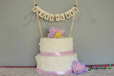 Sweet Love Wedding Cake Topper Mini Bunting Banner Topping Shabby Chic Vintage
