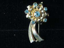 VINTAGE BARCLAY FUR DRESS CLIP SIGNED BLUE RHINESTONES PRONG SET GOLD TONED