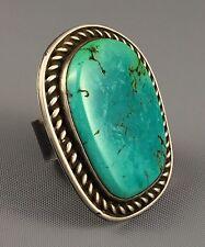 28g GIANT Navajo DAVID TALIMAN (d. 1967) Sterling FOX Turquoise MENS Ring Sz 9