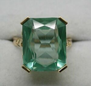 Lovely-18-carat-Gold-And-Large-Green-Spinel-Dress-Ring-Size-O-1-2