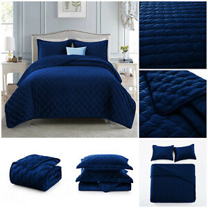 3 Pieces Velvet New Comforter Bedspread Bed Throw With Pillow Shams Double King