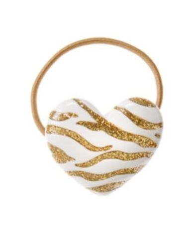 GYMBOREE RIGHT MEOW TIGER GOLD GLITTER HEART PONYTAIL HOLDER 1-CT NWT