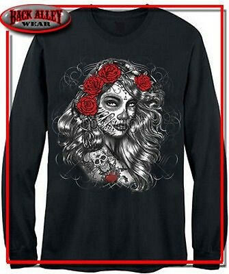 DIA DE LOS MUERTES GIRL Long Sleeve T-SHIRT DAY OF THE DEAD MEXICAN HERITAGE