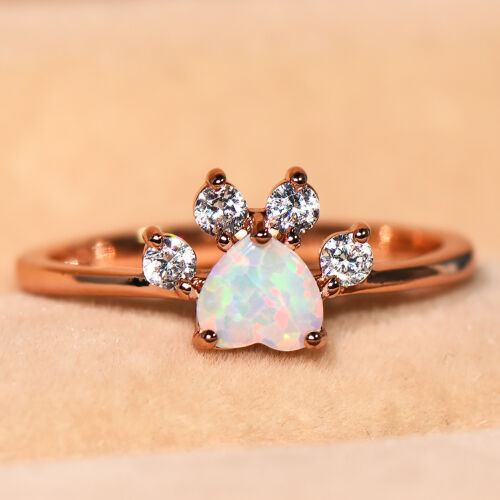 Cute Heart Cut Crystal Dog Paw Footprint White Sapphire Rose Gold Rings Jewelry