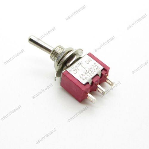 5×Mini Toggle Switch SPDT 3 Position ON-OFF-ON 3-PIN 250V 2A 120V 5A Red MTS-103