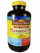 Nature Made Organic Flaxseed Oil 1400mg Dietary Supplement 300 Softgels