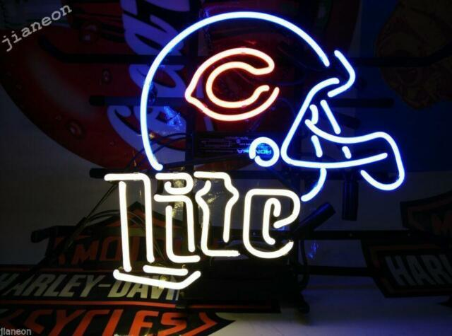 564f29fd RARE Chicago Bears Helmet Miller Lite Real Neon Sign Beer Bar Light Shiping