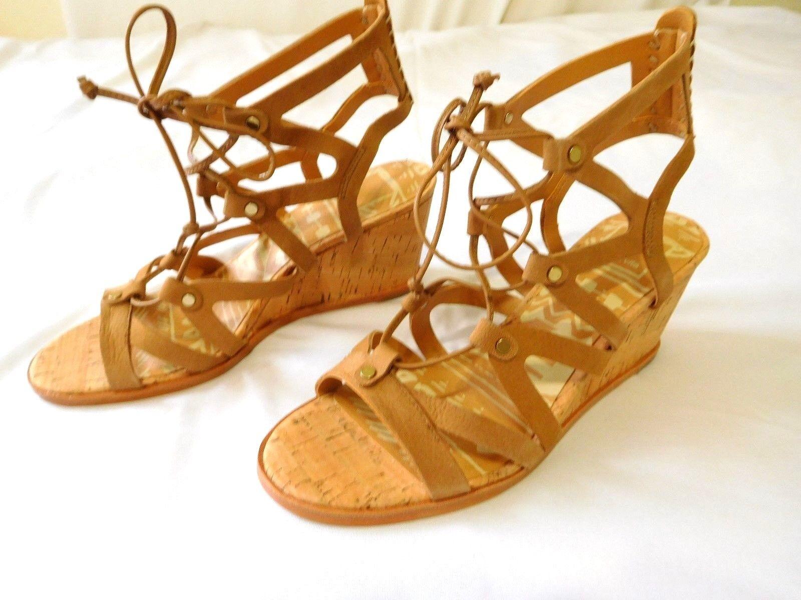Dolce Vita Damens Schuhes Wedge Sandale Saddle Nubuck 6.5 NEU Open Toe Leder