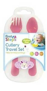 Baby-Plastic-Knife-Fork-Spoon-Cutlery-Travel-Set-First-Steps-6months-Animals
