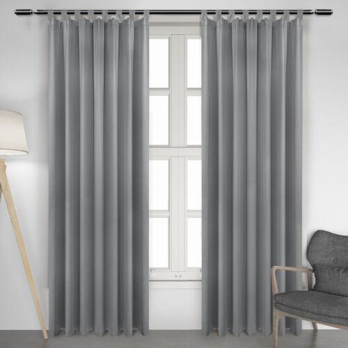 2er Set Gardinen Vorhang blickdicht Thermo Schlaufen 135x245cm Grau VH5895gr-2