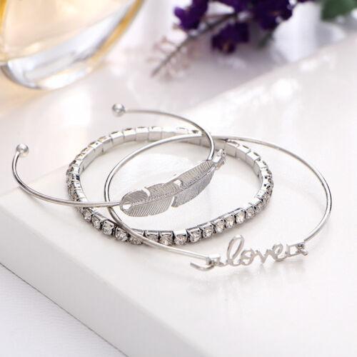 3pcs Women Silver Plated Alloy Leaves Feather Love Rhinestone Bangle Bracelets