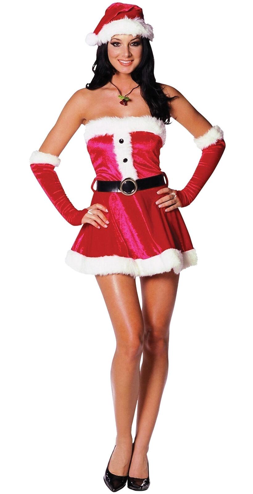 Santa's Sweetie Adult Women's Costume Stretch Velvet Christmas Fancy Dress