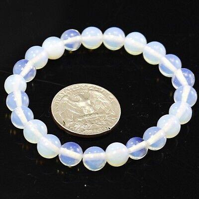 "Natural Stone Round 4mm 6mm 8mm 10mm bead Bracelet 7.5"" Elastic Bangle wholesale"
