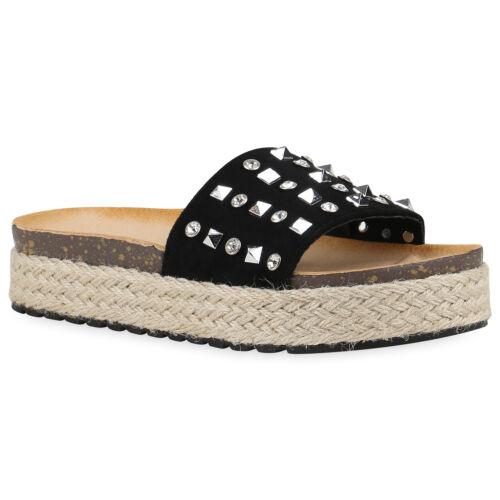 Damen Sandaletten Nieten Bast Pantoletten Slides Schuhe 820901 Trendy Neu