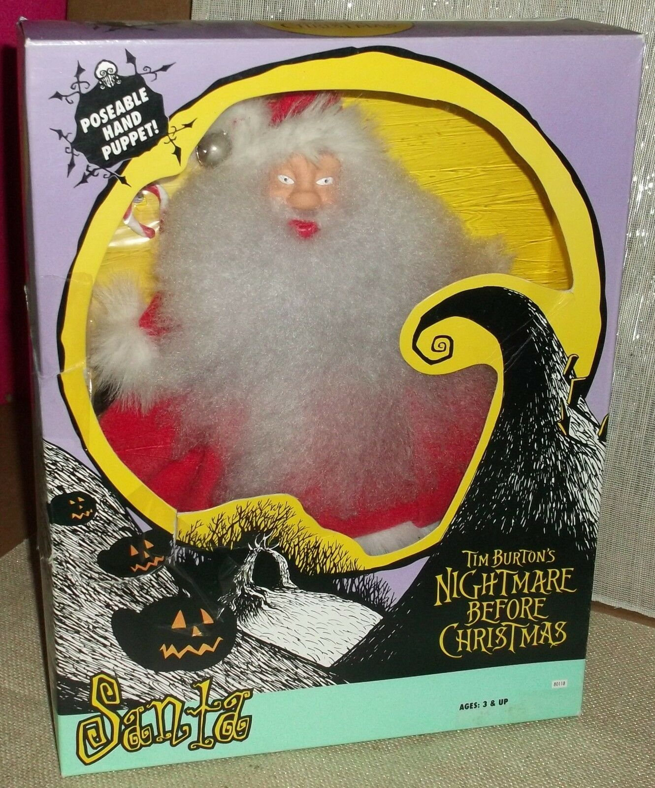 Hasbro Nightmare Before Christmas Santa Claus Hand Puppet New in Box 1993