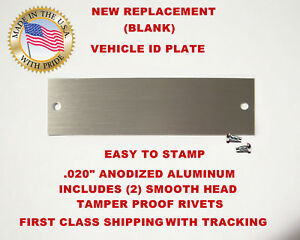 Details about NEW (Blank) Chevy GM GMC Chevrolet Vin Tag Data Plate Vehicle  Identification USA