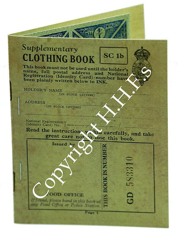 1940's-WW2-Blitz wartime memories REPLICA Rationing Clothing Book