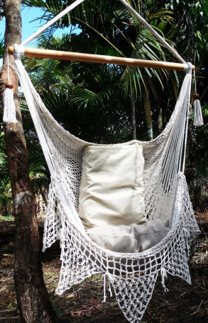CROCHET BEIGE HAMMOCK CHAIR HANDMADE COTTON /DECOR HOME/ FAST SHIPPING AVAILABLE