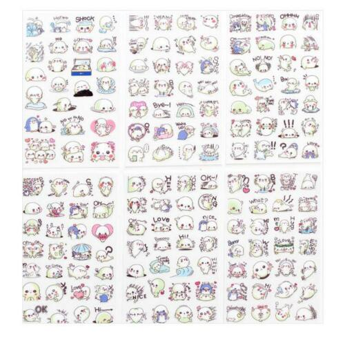 6pcs//set Cartoon Stickers Cute animal Diary Transparent Scrapbooking Stickers