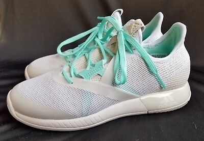 2b450b30 Women's Adidas Adizero Defiant Bounce White/Grey/Teal Running Shoes Sz 6.5