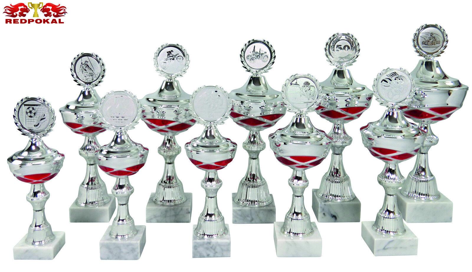 10er Serie Pokale 24,5-36,5cm in Silber Rot inkl. Gravur u.Emblem - L118 1-10