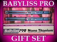 "2 PACK BABYLISS PRO NANO TITANIUM 1"" ULTRA THIN 1 1/2"" WET TO DRY HAIR FLAT IRON"