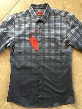 Hugo Boss Ero3 Button Down Shirt Mens S Slim Charcoal Ombre Plaid NWT $215 FAB!