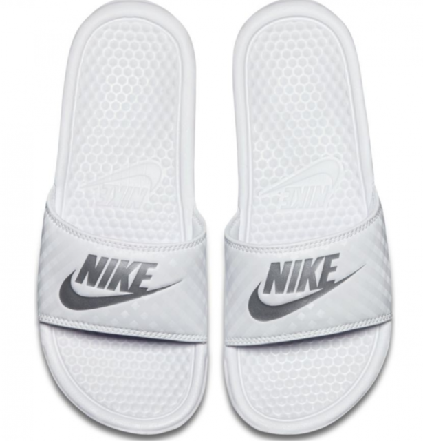 cbc44582933 Nike Benassi Just Do It Slide Women Sandals in White Metallic Silver ...