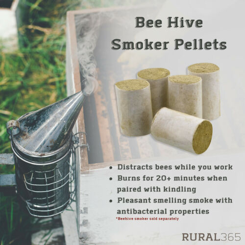 Rural365 Bee Hive Smoker Pellets 54pc Herbal Honey Bee Smoker Fuel Pellets