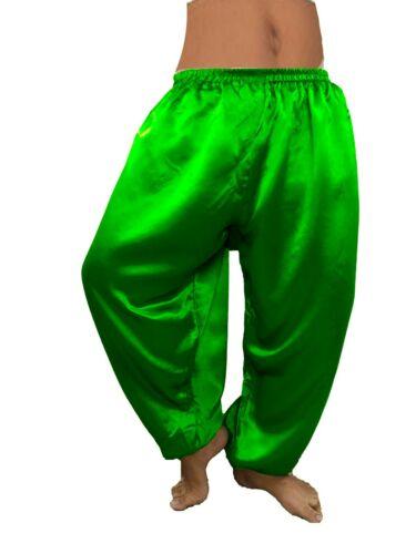 Details about  /GREEN Satin Harem Belly Dancing Costume BOHO Aladdin Trouser Pant Elastic Waist