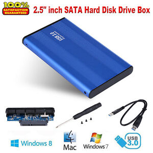 2.5'' Portable USB 3.0 External Hard Drive HD SATA Disk Enclosure Case Blue New