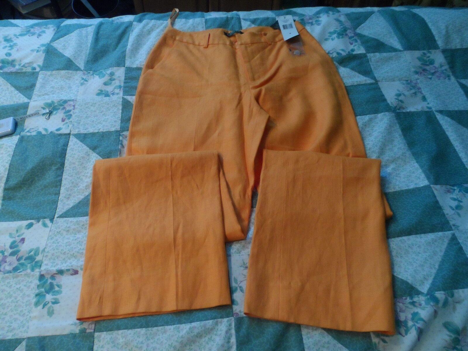NEW Lauren Ralph Lauren orange Linen Pants in Size 4