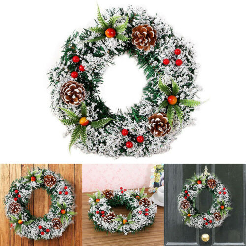 1X Christmas Wreath Hanging Garland Xmas Party Ornament Outdoor Wall Decors 20CM