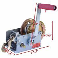 1 Ton 2000lb Hand Crank Steel Gear Cable Wire Winch Boat Atv Trailer W/hook
