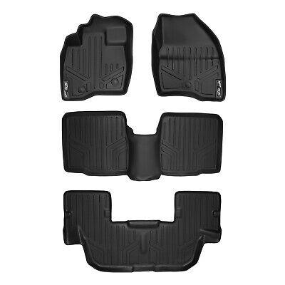 SMARTLINER Floor Mats 3 Row Liner Set Black for 2017-2018 Ford Explorer Without 2nd Row Center Console MAXLINER A0245//B0082//C0082