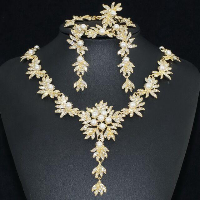 V402 Clear Crystal Pearl 18K GP Earrings Bracelet Necklace Set Ring Size 8