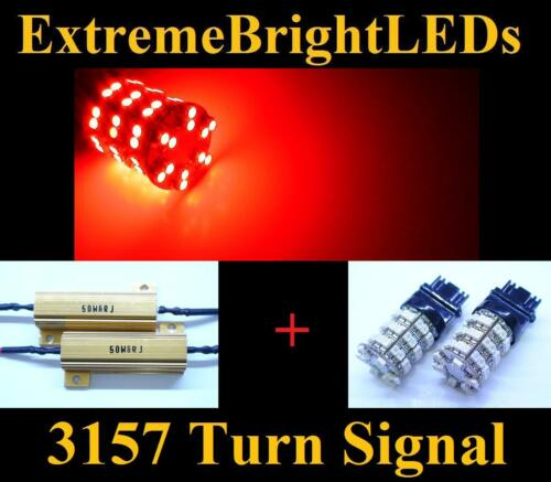 TWO RED 3156 3157 60-SMD LED Turn Signal Lights 2 Load Resistors