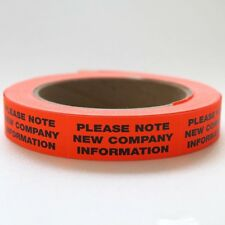 "1000ct. 3/4"" x 2"" ""NEW INFO"" FLUORESCENT STICKER LABEL COMPANY ADDRESS CHANGE"
