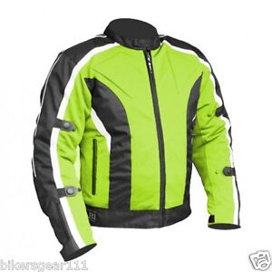 Image Is Loading NEW ADVENTURE TECH MESH MOTORCYCLE JACKET HI VIZ